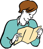 Zeichnung Mensch mit Faltblatt